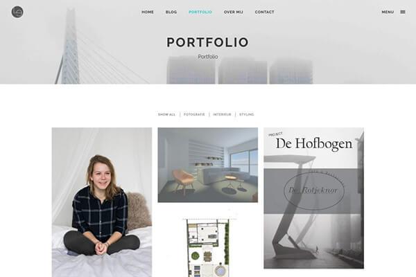 Lauraemma webstijlen portfolio foto van website op desktop